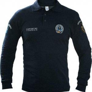 Μπλουζάκι Polo (Σωφρονιστικής Υπηρεσίας) μακρύ μανίκι με κέντημα