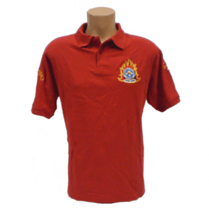 Μπλουζάκι polo ΠΥΡΟΣΒΕΣΤΙΚΗΣ κοντομάνικο με κέντημα κόκκινο